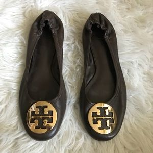 Tory Burch Brown Flats with Gold Emblem
